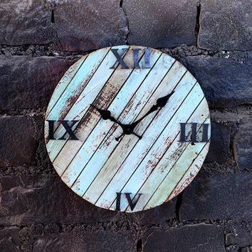 Rustic & Antique Round Wall Clock of Reclaimed Wood - Aqua