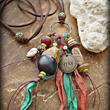 Boho Hippie Necklace - Tribal Necklace - African Necklace - Boho Gypsy Necklace - Boho Beach Necklace - Free Spirit Necklace - Yoga Necklace