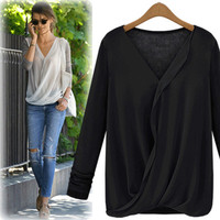 Solid Color V-Neck Chiffon Top