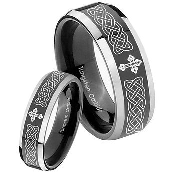 His Hers Celtic Cross Beveled Glossy Black 2 Tone Tungsten Mens Ring Set