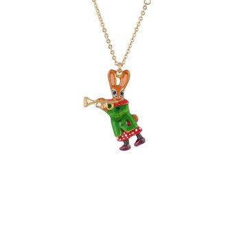 N2 by Les Néréides BRASS BAND RABBIT AND TRUMPET SHORT NECKLACE