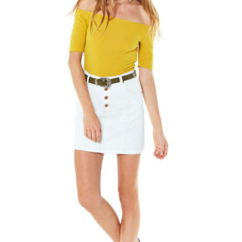 White Out Denim Skirt