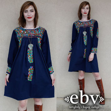 Vintage 70s Longsleeve Navy Blue Mexican Embroidered Hippie Boho Mini Dress S M L