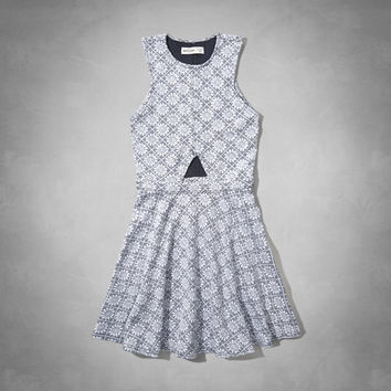 jacquard cut-out skater dress