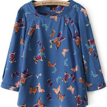 Navy Blue Round Neckline Butterfly Printed Blouse