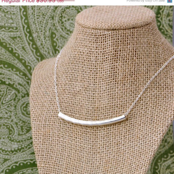 SALE Herringbone Tube Necklace - Simple Tube - Minimalist Jewelry - Tube Pendant - Sterling Silver Necklace - Tube Jewelry