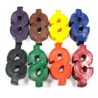 Dollar Sign Crayons - set of 8 - back to school, school supply, recycle, reuse, repurpose, upcycle, party favor, money, rich, cash