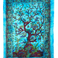 Psychedelic Tree of Life Indian Printed Home Decor Wall Hanging Bedspread Tapestry