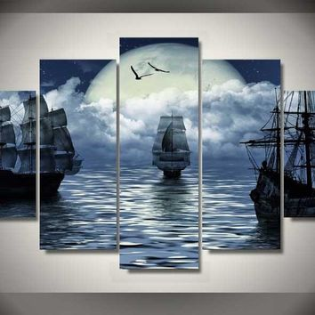 Pirates Moon 5-Piece Wall Art Canvas