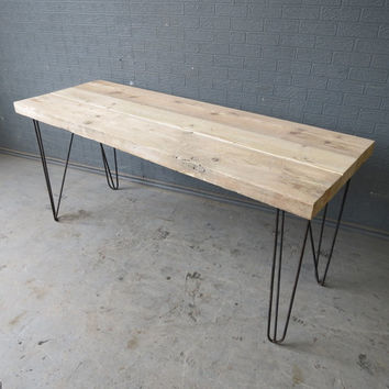 Industrial Chic Reclaimed Custom Hairpin Leg Office Desk Tables. Steel and Wood Metal Hand Made 174