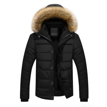 High Quality Men Down Jacket Brand Clothing Casual Warm Hooded Fur Collar Coats Winter Jackets PARKAS
