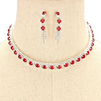 Affordable Wedding Jewelry Red Clear Rhinestone Post Earrings Silver Choker Necklace Set