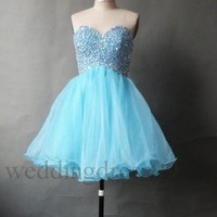 Custom Blue Beaded Short Tulle Bridesmaid Dresses 2014 Formal Prom Dresses Fashion Evening Gowns Fashion Party Dress Cocktail Dress