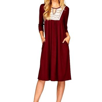 Embroidered Front Midi Dress, Burgundy