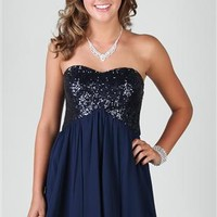 strapless chiffon homecoming dress with sequin bodice
