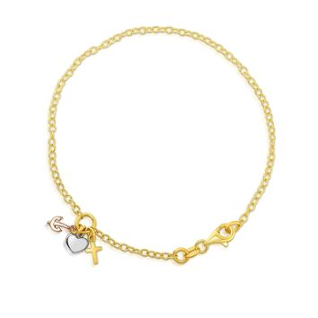 """14k Yellow Gold Chain Heart Lock And Anchor Bracelet, 7.5"""""""