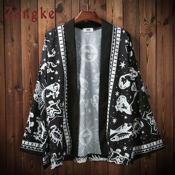 Trendy Zongke Japanese Harajuku Kimono Cardigan Men Black Beach Kimono Cardigan Men Plus Size Long Kimono Jacket Men 2018 Summer AT_94_13