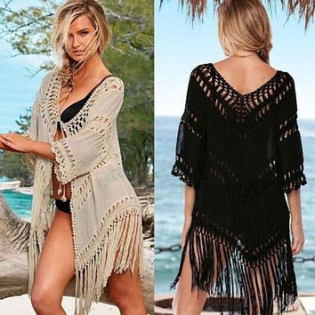 MDIG57D New Handmade Woven Tassel Beach Cover Up Crochet Openwork  Bikini Swimwear Women Robe De Plage Beach Bathing Suit Sunscreen