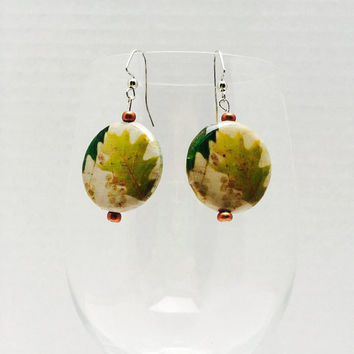Fall leaf earrings, leaf earrings, fall jewelry, autumn, leaf jewelry, dangle earrings, pierced earrings, oak leaf, decoupage