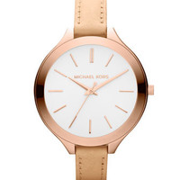MICHAEL Michael Kors  Mid-Size Nude Leather Runway Watch - Michael Kors