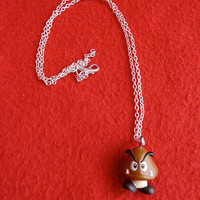 Super Mario 'Goomba' pendant necklace by DeardenDesign on Etsy