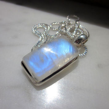 CLEARANCE sterling ice blue rainbow moonstone pendant necklace and free chain genuine blue moonstone jewelry silver moonstone pendant