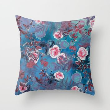 flowers blue Throw Pillow by jbjart