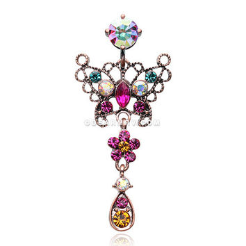 Vintage Boho Glistening Butterfly Flower Reverse Belly Button Ring (Copper/Aurora Borealis/Fuchsia)
