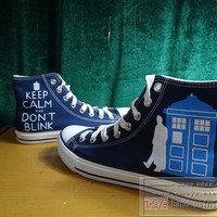 Doctor Who painted shoes painted on local brand only 55Usd Converse only 92USD High Top deep Blue Canvas for Men Women