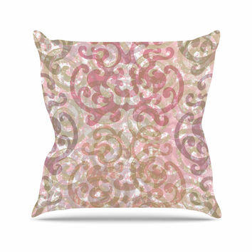 "Chickaprint ""Chintz"" Gold Pink Throw Pillow"