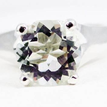 Large Green Amethyst Solitaire Ring Sterling Silver, Prasiolite Amethyst Ring, 925 Green Amethyst Ring, Large Solitaire Ring