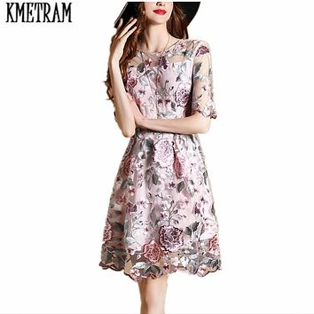KMETRAM 2017New style Evening Party Dresses Gorgeous Three Quarter Sleeves Knee length Mesh Embroidery Boho Bohemian Dress HH114