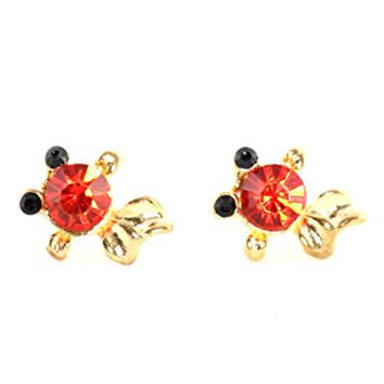 Koi Fish Stud Earrings Goldfish Red Crystal Posts EG68 Fashion Jewelry