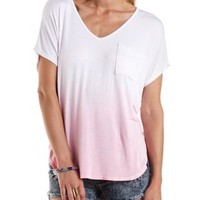 Candy Pink Oversized High-Low Dip-Dye Tee by Charlotte Russe