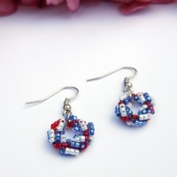 Handmade Beaded Wreath Earrings