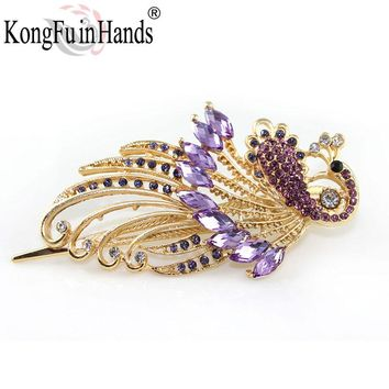 Free Shipping Amazing Palace Luxury phoenix peacock Hair pin fashion crystal bird jewelry vintage accessories dance party gift