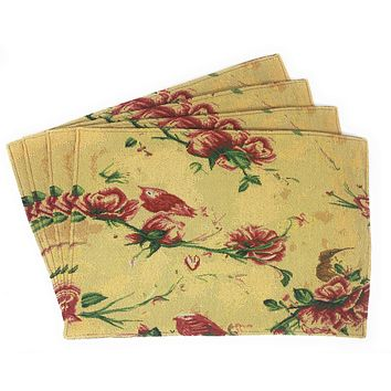 Tache Floral Red Roses Birds Golden Woven Tapestry Placemat (18115)
