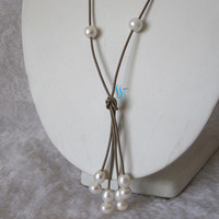 Lariat Necklace - 24 inches 6-8mm White Freshwater Pearl Khaki Leather Lariat Necklace