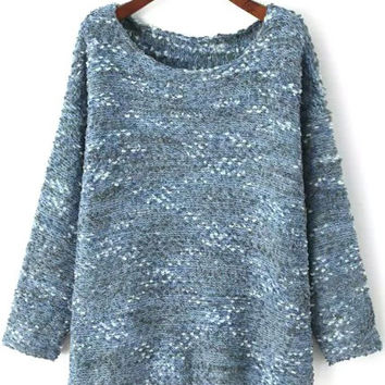 Blue Fluffy Knitted Jumper