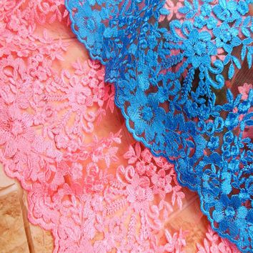 1 Yard French Embroidery Mesh Net Tulle Lace Fabric Clothing Accessories DIY Embroidery Polyester Silk African Royal blue Lace