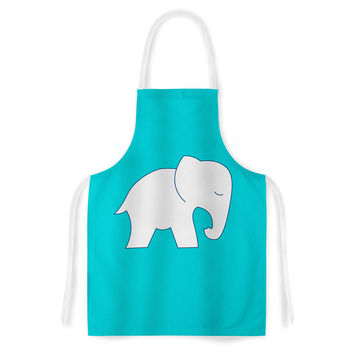"NL Designs ""Cute Blue White Elephant"" Animals Blue Artistic Apron"