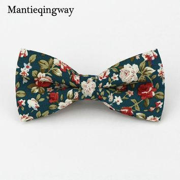 Mantieqingway Popular Bow Ties Cotton Floral Neckwear Bowtie for Men Suit Bow Tie for Mens