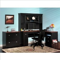 Bush Furniture Fairview L-Shaped Wood Home Office Set in Black