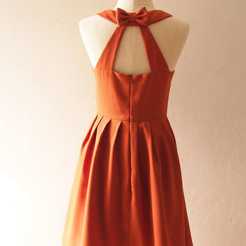 Love Potion - Caramel Brown Dress Short Party Dress Bridal Party Dress Audrey Hepburn Dress Low Back Prom Dress Brown Bridesmaid Dress
