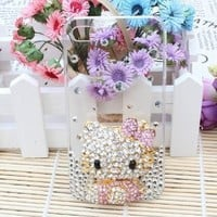 SODIAL 3D Bling Crystal Flat Back Rhinestone Pink Hello Kitty Case, Cover for Apple Iphone 4 and 4s