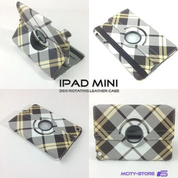 IPad Mini Cover Luxury Stripes Pattern 360 Smart Rotating PU Leather Case - Yellow Grey White  Stripes