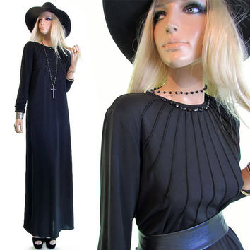 strega vintage 90s dress 90s goth minimalist dress black maxi gothic dress hippie gypsy womens goth clothing 1990s 90s clothing witch dress