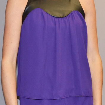 Leather Trim Top in Purple