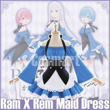 [Nov.Stock]Anime Re: Life a Different World from Zero Ram Rem Maid Dress NEW LOOK Halloween Party Cosplay Costume for women