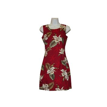 Ky's Red 100% Cotton Womens Short Tank Aloha Dress with White Orchids and Palm Trees